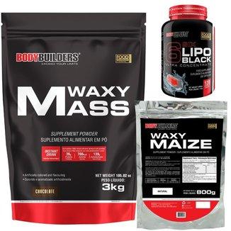 Waxy mass 3kg+Waxy Maize 800g+Six 6 lipo black 120 cáps - Bodybuilders