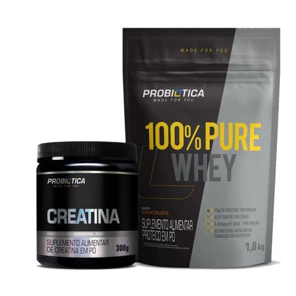 Whey 100% 1,8Kg + Creatina 300g Probiótica