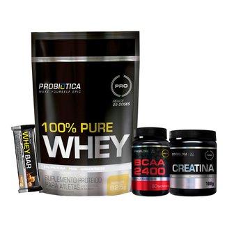 Whey 100% Pure 825g + Creatina + Bcaa + Whey Bar - Baunilha - Probiótica