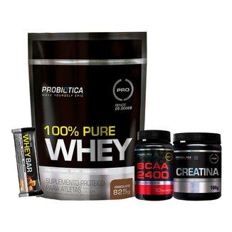 Whey 100% Pure 825g + Creatina + Bcaa + Whey Bar - Chocolate - Probiótica