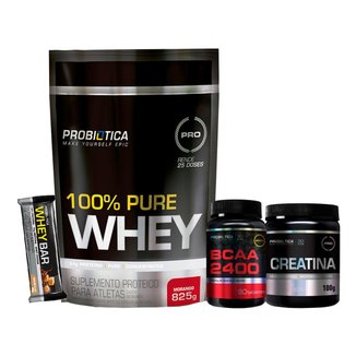 Whey 100% Pure 825g + Creatina + Bcaa + Whey Bar - Morango - Probiótica
