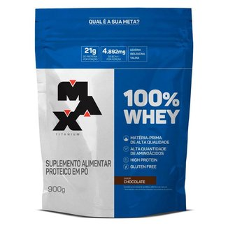 Whey 100% Refil - 900g - Max Titanium - Baunilha