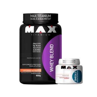 Whey Blend 900g Vitamina de Frutas + Ômega 3 90c - Max Titanium