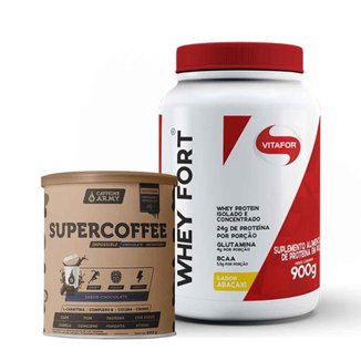 Whey Fort Abacaxi 900g- Vitafor e Supercoffee Chocolate 220g- Caffeinearmy