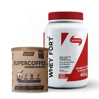 Whey Fort Frutas Vermelhas 900g- Vitafor e Supercoffee Chocolate 220g- Caffeinearmy