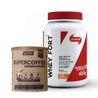 Whey Fort Laranja com Acerola 900g- Vitafor e Supercoffee Chocolate 220g- Caffeinearmy