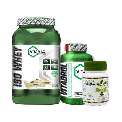 Whey Iso Protein Isolado + Vitadrol Testo + Adoçante Natural