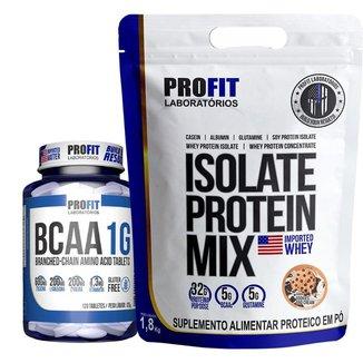 Whey Protein 100% Iso Isolado Refil 1,8kg + Bcaa 1g - Profit