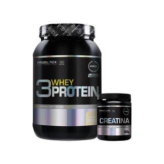 Whey Protein 3w 900g Baunilha + Creatina 100g - Probiótica
