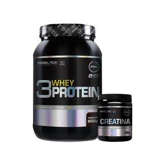 Whey Protein 3w 900g Chocolate + Creatina 100g - Probiótica