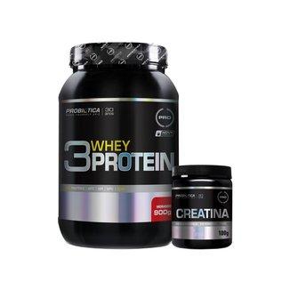 Whey Protein 3w 900g Morango + Creatina 100g - Probiótica