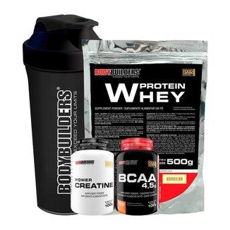 Whey Protein 500g +  Creatina 100g + BCAA 4.5g 100g + Coqueteleira - Bodybuilders