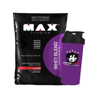 Whey Protein Blend 2kg Morango Max Titanium + Coqueteleira