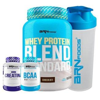 Whey Protein Blend 900g + PREMIUM Creatina 100g + BCAA Fit 100g + Coqueteleira - BRN Foods