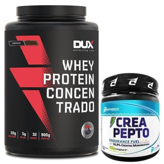 Whey Protein Concentrado Pote 900g Dux Nutrition + Creapure 300g Performance