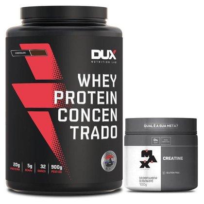 Whey Protein Concentrado Pote 900g Dux Nutrition + Creatina 100g Max Titanium