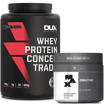 Whey Protein Concentrado Pote 900g Dux Nutrition + Creatina 300g Max Titanium
