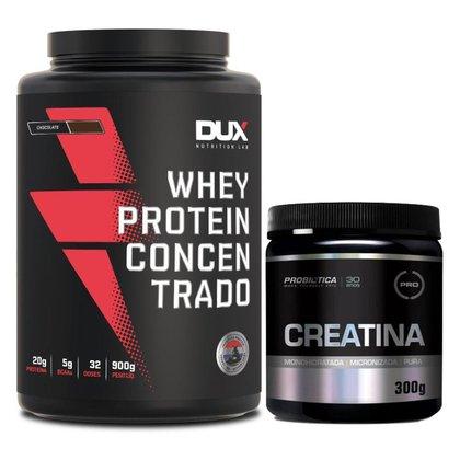 Whey Protein Concentrado Pote 900g Dux Nutrition + Creatina Probiotica 300g