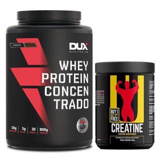 Whey Protein Concentrado Pote 900g Dux Nutrition + Creatina Universal 200g