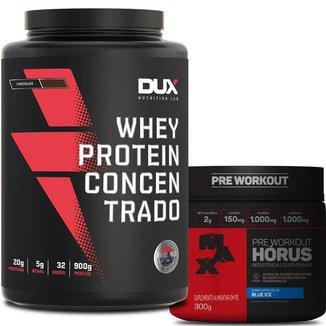 Whey Protein Concentrado Pote 900g Dux Nutrition + Pré-Treino Horus Max Titanium 300g