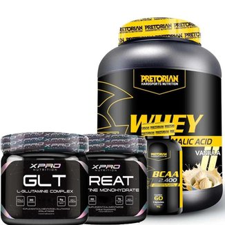 Whey Protein Isolado + WPC 900g + Bcaa 2400 - Pretorian + Creatina e Glutamina 150g - Xpro Nutrition