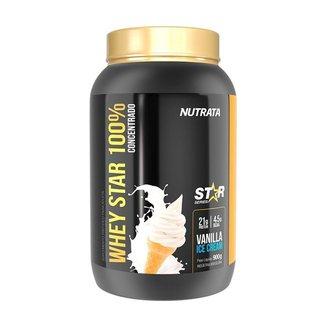 Whey Star 100% 900g Nutrata MilkShake Morango