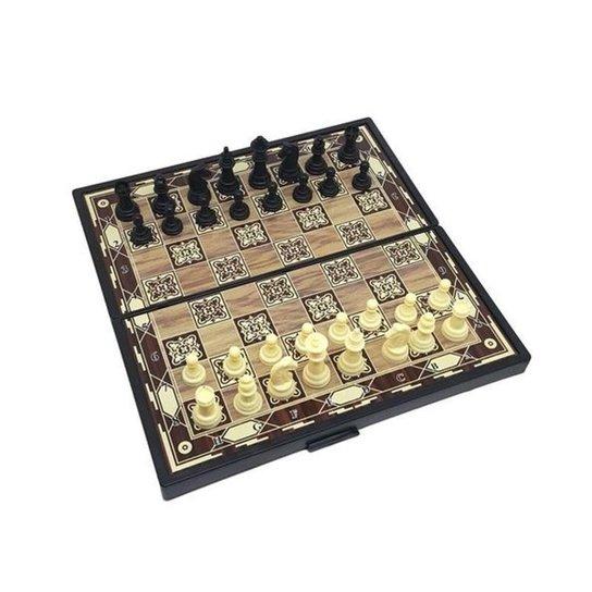 Xadrez com Tabuleiro Magnético Dobrável MBTech - Preto+Bege