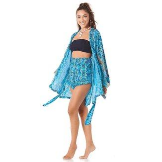 Yacamim Shorts com Lastex Azul Estampado Yacamim M