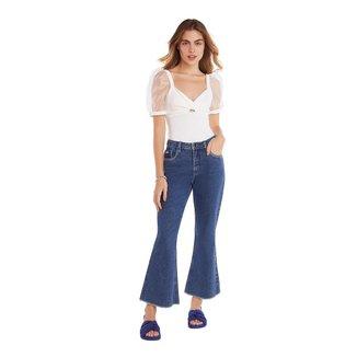Zinco Calça Zinco Cropped Flare Cós Alto Básica Jeans