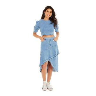 Zinco Saia Zinco Midi Evasê Com Babado Jeans