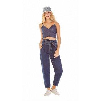 Zinco Top Zinco Cropped Alça Com Pregas Jeans