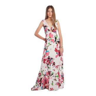 Zinco Vestido Zinco Longo Decote V Amarração Costas Branco