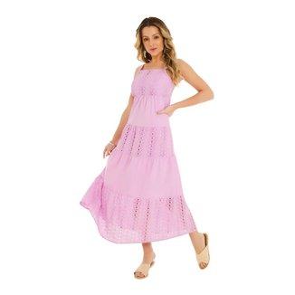 Zinco Vestido Zinco Midi Decote Quadrado Composê De Tecidos Lilás